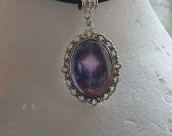 Birth of a Star Nebula Oval Cabochon Thong Necklace