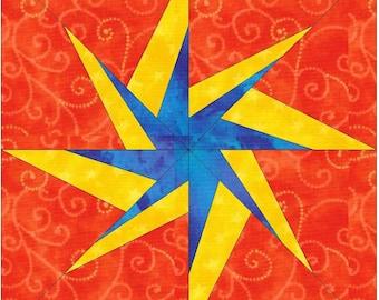 HC Starburst Compass 15 Inch Block Paper Template Quilting Block Pattern PDF