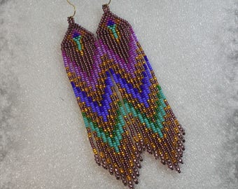 Long Indian style beads earrings - tribal style, boho style, peyote earrings , Native American Beaded Earrings