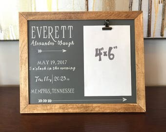 Baby birth board etsy birth stat picture frame birth stat sign personalized baby gift negle Choice Image
