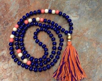 Long Beaded tassel necklace purple orange wood beaded necklace Bohemian necklace boho necklace Game Day fun long beaded necklace ladies mens