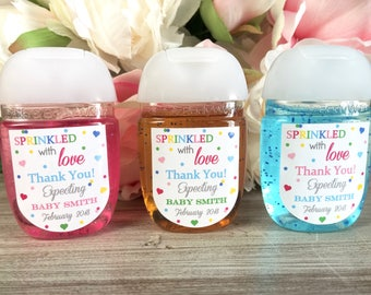 sprinkled with love baby shower favor baby sprinkle favor label hand sanitizer favor
