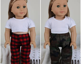 18 inch doll pajama pants | red and black plaid | camo pj pants | flannel pants