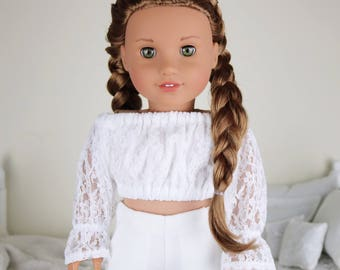 18 inch doll white lace peasant blouse | white crop top