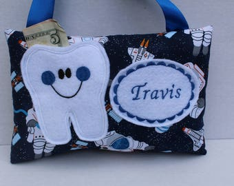 Tooth Fairy Pillow - Personalized Tooth Pillow - Astronaut - Tooth Pillow - Boys Tooth Pillow - Outer Space - Personalized Pillow