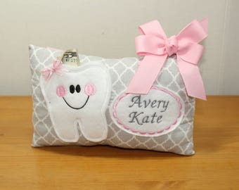 Girls Tooth Fairy Pillow - Personalized Tooth Fairy Pillow - Personalized Tooth Pillow - Gifts under 20 -  Embroidered Pillow - Tooth Pillow