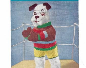 knitting pattern, Original Pattern, Boxing Dog, Penelope Knitting Pattern, Soft Toy Pattern