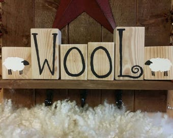 Wool Wood  Blocks with Sheep