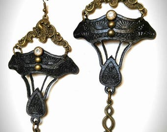 Black Daffodil Earrings - Lasercut Leather - Art Nouveau Jewelry - Unique Long Earrings - Boho Festival Jewelry - Antique Bronze