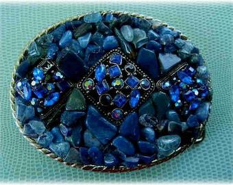 Mosaic Stone and Rhinestone Wearable Art Belt Buckle