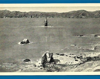Vintage Black and White Postcard - Mile Rocks Lighthouse at the Golden Gate in San Francisco Bay, California  (2637)