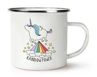 Unicorn Rainbow Power Retro Enamel Mug Cup