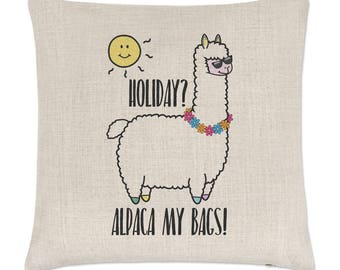 Holiday Alpaca My Bags Linen Cushion Cover
