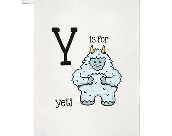 Letter Y Is For Yeti Tea Towel Dish Cloth