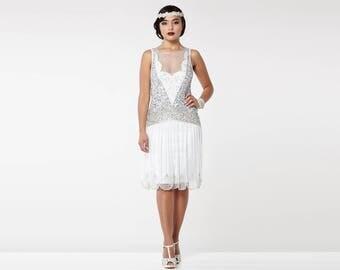US2 UK6 AUS6 EU34 Off White Silver Elaina Flapper Dress 20s Great Gatsby Deco Bridesmaid Wedding reception Bridal Shower Rehearsal Dinner