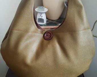 Large Olive Vinyl Hobo Shoulder Bag
