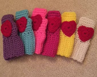Hand Crochet Childrens Fingerless Gloves with Hearts-ARUBA SEA