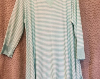Mint green and white striped Sharkbite tunic.  PLUS size