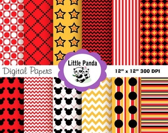 80% OFF SALE Mickey Mouse Digital Scrapbooking Papers - Instant Download - D29