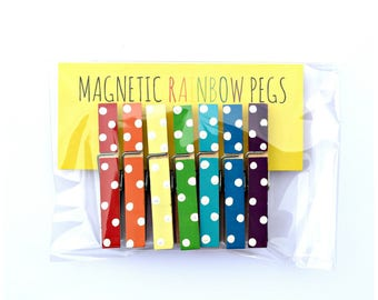 Magnetic Rainbow Pegs. Polka Dot. Fridge Magnets. Kids Pictures. Kitchen. Decor. Home.