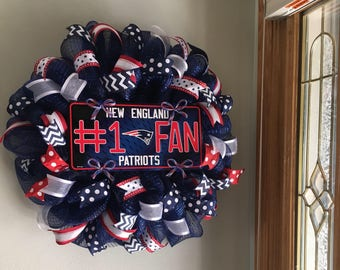 New England Patriots Football Sports Door Mesh Red White Blue Welcome Fall Wreath