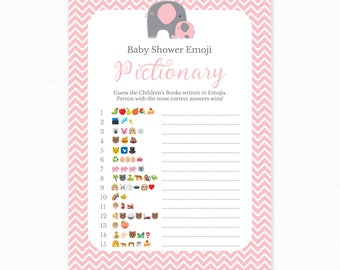 Baby Shower Game - Pink Baby Shower -  Emoji Pictionary - Pink Elephant Baby Shower Printable - Baby Shower Emoji Game - Pink Elephant