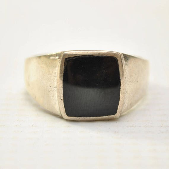 Onyx Large Square Stone in Plain Sterling Silver Ring Sz 11 #8785
