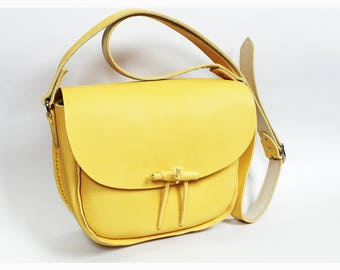 Small Shoulder Handbag Yellow Bag Leather Bag Yellow Leather Bag Ladies Bag Shoulder Bag