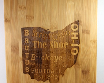 Ohio themed cutting board for wedding gift, house warming, bridal shower