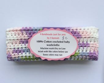 Baby washcloths-Variegated Pastel colors-Set of 3-Hand crocheted 100% cotton