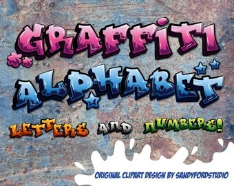 Graffiti Alphabet - Letters and numbers - Pink, blue, orange, green, white - 200 files - png files + digital paper - Instant Download