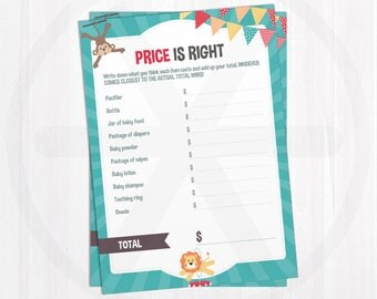 Price is Right Game Cards. Carnival Baby Shower Games. Printable Funny Baby Shower Activities. Gender Neutral Circus Games. Digital Download
