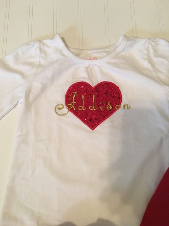 sparkly glitter heart monogram girls valentines day shirt, embroidered heart monogram glitter red gold any color available girls valentine