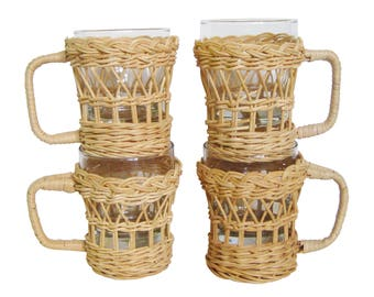 Vintage Set of 4 Bohemian Boho Wicker Rattan Glass Mugs, Espresso Coffee Cups w/ Wicker Handled Holders,Glass Tumbler Cup Holder with Handle