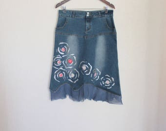 Blue Denim  Skirt  Jean  Midi Length  High Waisted  A Line Applique Flower Pink  Floral Cowgirl Western