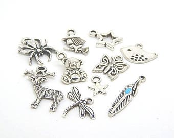 10 charms mixed silvery color, mix of 10 charms
