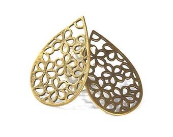 2 pendants openwork prints form drop bronze 53x34mm