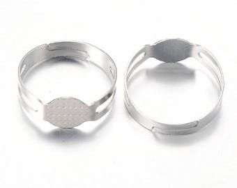10 adjustable rings support silvered with tray 17x8mm