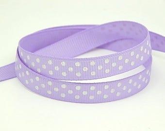 3 meters of Purple Ribbon with polka dots grosgrain Ribbon 10mm