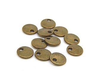 10 sequins round 8mm bronze metal charms