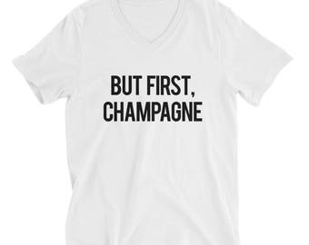 "RESERVED: 6 White V-Necks ""But First Champagne"" Unisex T-Shirts - Bridesmaid Getting Ready Outfit - Bridesmaid Shirt - Bride Robe"