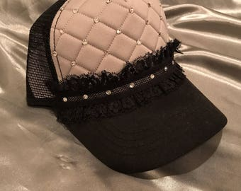 Bling Hat, Womens Hats, Hat, Gray Hat, Quilted Trucker Hat,  Bling Hat, Sparkle Hat, Rhinestone Cap, Baseball Cap,  Womens Hat,Crystal Hat