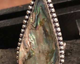 Abalone! .925 silver ring! 10