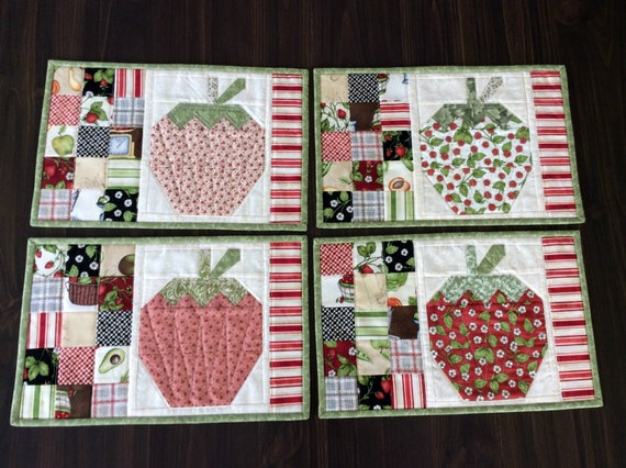 Strawberry Quilted Placemats Country Table Setting Set of 4 : country quilted placemats - Adamdwight.com
