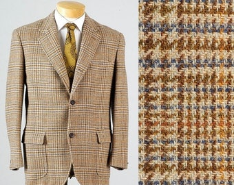 SALE Vintage 70s Brooks Brothers Wool Tweed Sportcoat Blazer Jacket Ivy League 3 Roll 2 Windowpane 42 42R