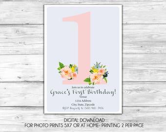 Floral One Birthday Invitation