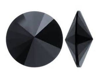 1122 JET 12mm Swarovski Crystal Rivoli 6 pieces Round Pointed Foiled Back, Jet Black