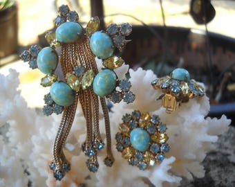 Love The Old Stuff! Unusual Gorgeous Signed Weiss Faux Turquoise Rhinestone Brooch and Clip Earrings.