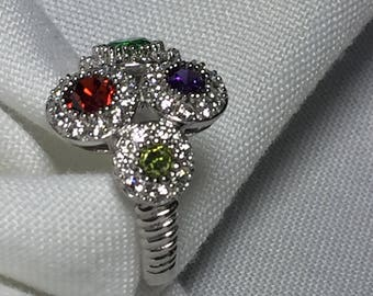 Coctail Ring - Colorfull Multigem Sterling Silver, Cubic Zirconia Statement Ring