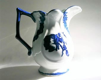 Vintage Ironstone Pitcher Blakeney Staffordshire England Flow Blue Pottery